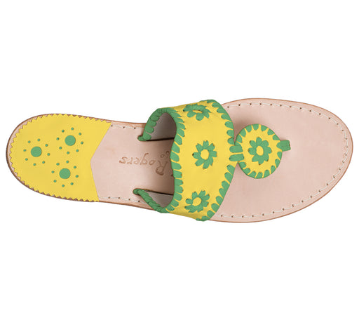 Custom Jacks Sandal Medium - Yellow / Green-Jack Rogers USA
