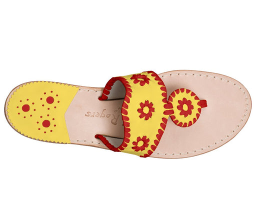 Custom Jacks Sandal Wide - Yellow / Red-Jack Rogers USA