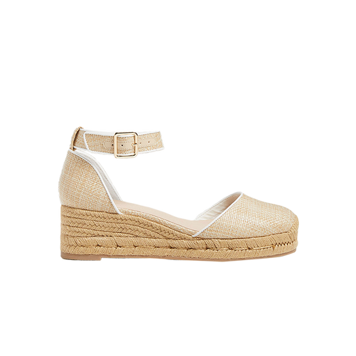 Palmer Rattan Closed Toe Mid Wedge