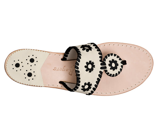 Custom Jacks Sandal Medium - Bone / Black-Jack Rogers USA