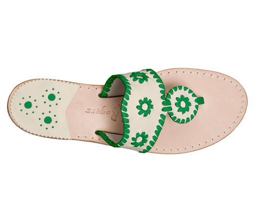Custom Jacks Sandal Medium - Bone / Green-Jack Rogers USA