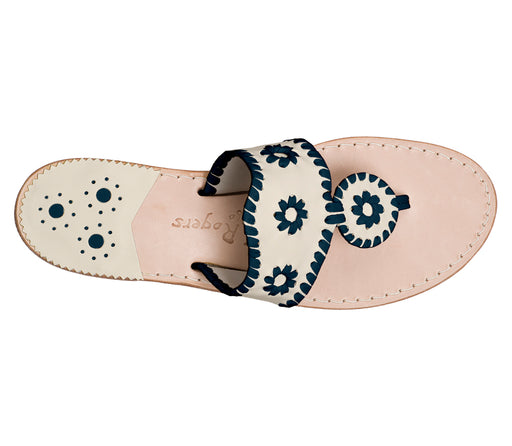 Custom Jacks Sandal Medium - Bone / Midnight-Jack Rogers USA