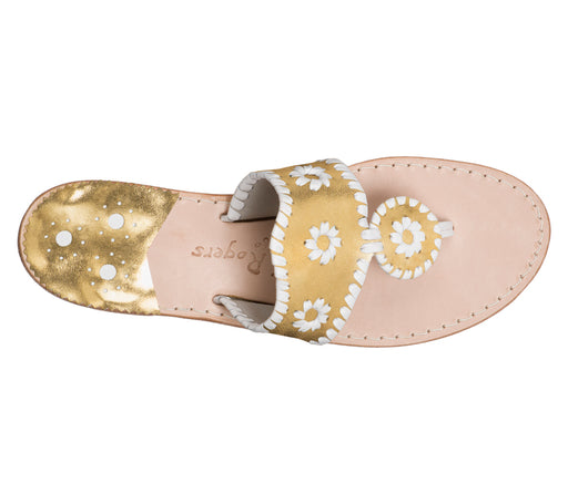 Custom Jacks Sandal Medium - Gold / White-Jack Rogers USA