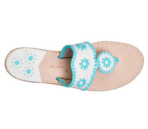 Custom Jacks Sandal Wide - White / Caribbean Blue-Jack Rogers USA