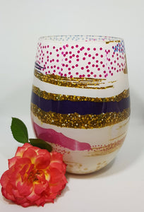 Luxurious Renee Stemless Glass Candle filled with quality hand poured soy wax - Patchwork