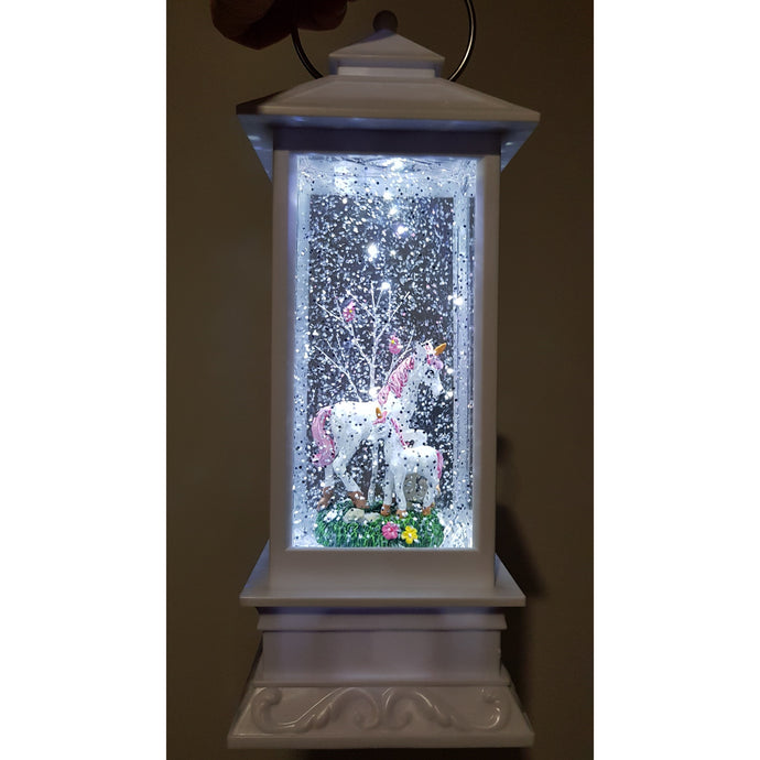 WHITE LED GLITTER LANTERN WITH UNICORN & BABY