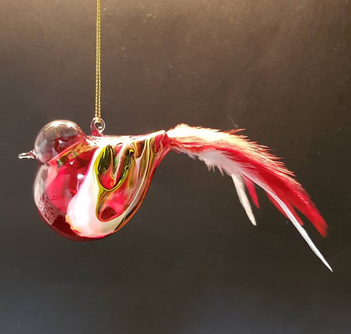 COLOURFUL HAND BLOWN GLASS BIRD WITH FEATHERS
