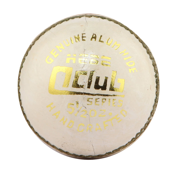 HEBE CRICKET LEATHER BALL Q CLUB, WHITE