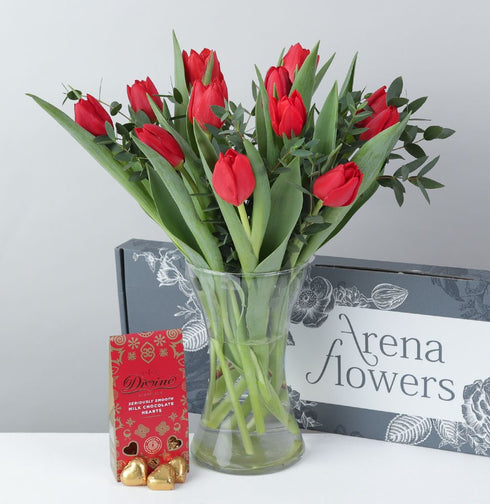 Letterbox Tulips with Fairtrade Divine Chocolates