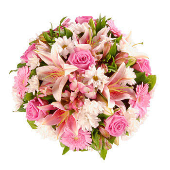 Pink Lily Rose Funeral Posy