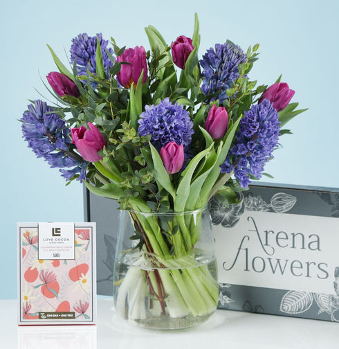 Letterbox Scented Violets with chocolates