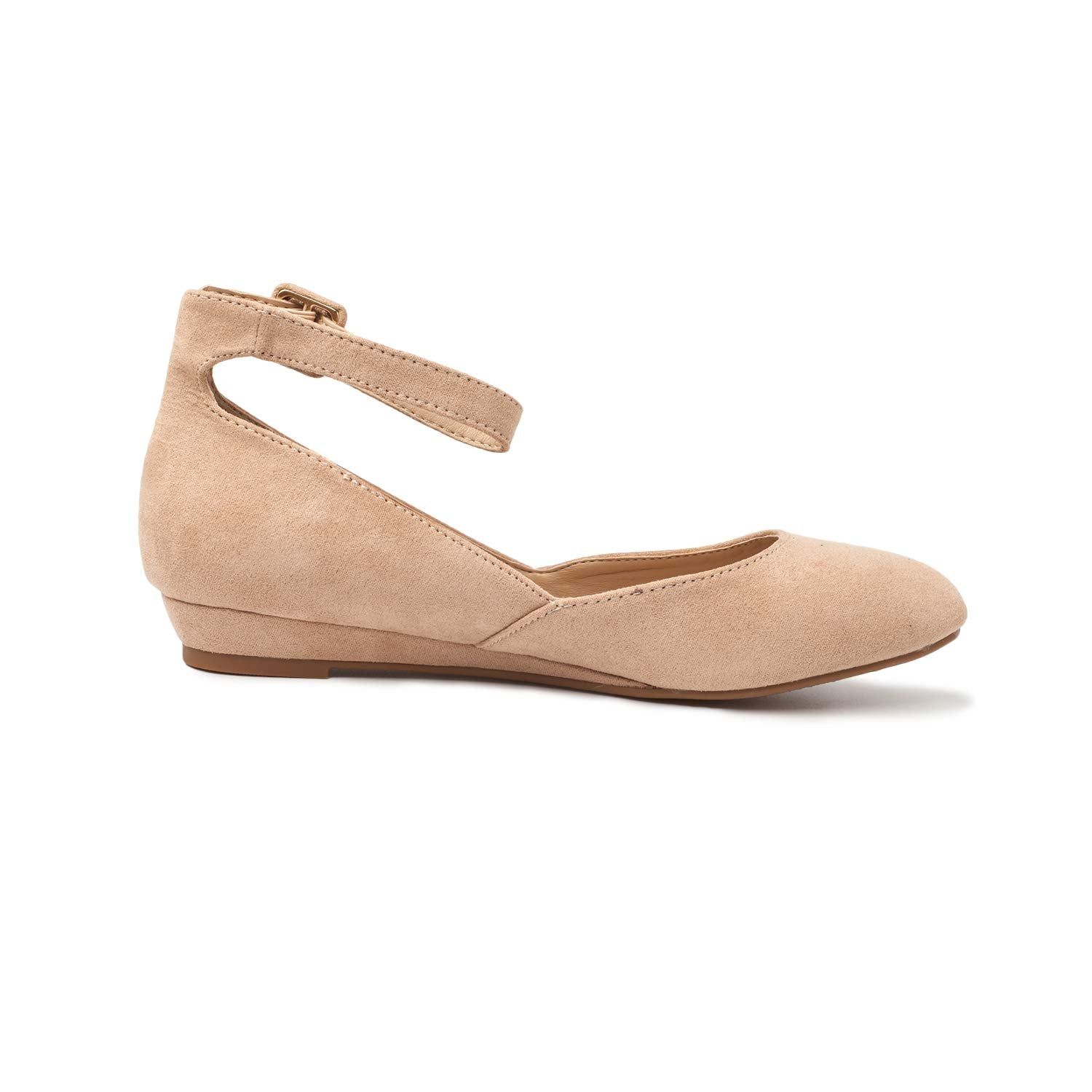 DREAM PAIRS Womens Revona Low Wedge Ankle Strap Flats Shoes
