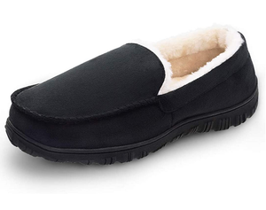 LULEX Mens Slippers Moccasin for Men Plush Micro Suede Slippers Non-Skid Indoor/Outdoor House Shoes with Arch Support
