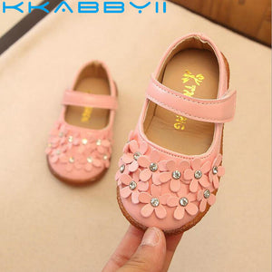 New Spring Autumn Flowers PU Waterproof Soft Bottom Girls Pink Shoes White Girls Shoes Leather Party Princess