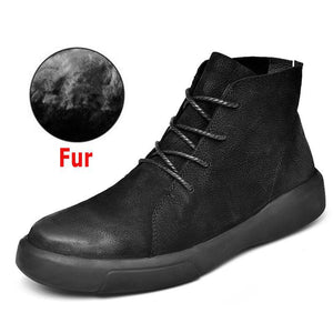 Real Leather Men Male Boots Autumn Winter With Fur Warm Snow Boots Men Winter Boots Work Shoes Men Footwear Rubber Ankle Shoes