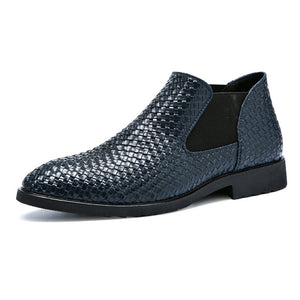 2019 Brand Designer Men Ankle Boots Weave Pattern PU Leather Men's Chelsea Boots Elasticity Slip On Business Rubber Botas Hombre