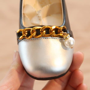 Silver & Black Girls PU Leather Shoes with Gold Chain & Pearl, 2019 New Fashion Students Casual Sneakers, size 21-30