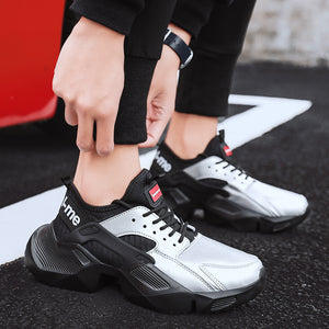 Men's Chunky Sneakers Fashion Silver PU Comfortable Thick Sole Shoes For Male Adult Lace-up Black Men Casual Shoes 7789m
