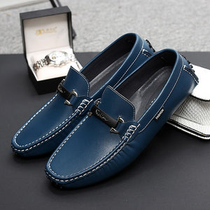 Misalwa 47 White Blue Men Loafers Split Leather Men Casual Shoes Luxury Brand Light Soft Moccasins Breathable Slip on Male Flats