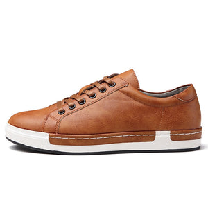 BIMUDUIYU Handmade Casual Shoes Men Brand Male Shoes Lace-up Retro Breathable Shoes PU Leather Flats Oxford Footwear