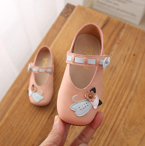 Toddler Baby Girls Princess Shoes Cartoon Cat Leather Children Girls Single Shoes Spring Autumn Baby Casual Sneaker Flats