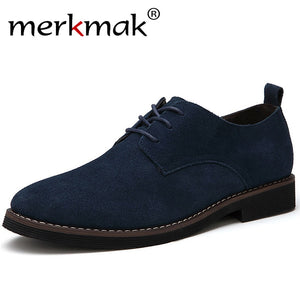 Merkmak Brand Plus Size 48 Men Casual Leather Shoes Oxfords Suede Leather Men's Flats Spring Autumn Fashion  Classic Shoes