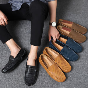 Merkmak Summer Men Loafers Weaving Hollow Leather Shoes Slip On Breathable Casual Men's Dress Shoes Soft Non-slip Man's Flat
