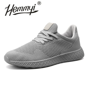 Hemmyi Mens Casual Shoes Breathable Mesh Sneakers Red Black Shoe Lace-up Rubber Sole Zapatos De Hombre Plus Size 39-47