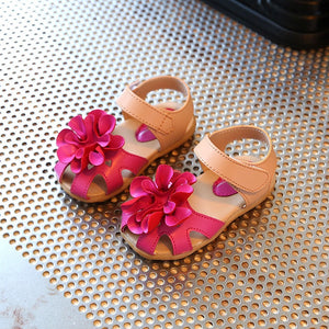 Lovely Flowers Baby Girls Sandals Summer Walker Shoes Soft Anti-slip Sole Kids Toddler Toe-cap Children's Sandals girl