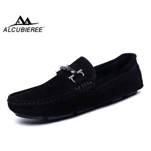ALCUBIEREE Genuine Leather Men Loafers Fashion Slip On Driving Shoes Men Moccasin Boat Shoes Casual Business Men Shoes Gommino