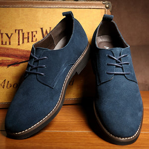 JUQI Men Casual Leather Shoes Oxfords Suede Leather Men's Flats Spring Autumn Fashion Luxury Classic Shoes Big Size 38-48