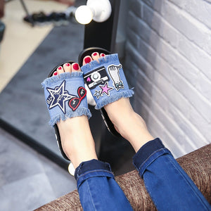 9271P new cowboy a word procrastinates joker wearing embroidered shoes female antiskid summer sandals