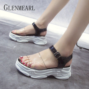 Woman Sandals Platform Shoes Female Summer Sandals Black Transparent Buckle Strap Gladiator Sandals Women Casual Shoes DE