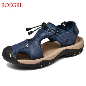 New Casual Men Soft Sandals Comfortable Men Summer Genuine Leather Sandals Men Roman Summer Outdoor Beach Sandals Big Size 38-46