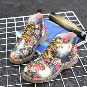 Cuculus Autumn Women Ankle Boots Low Heels Flower Flats Casual Shoes Woman Oxfords Lace-Up Motorcycle Booties Plus Size 40 1416