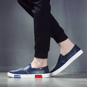 Brand Denim Canvas Loafers Men Shoes Comfortable Men's Casual Shoes Slip-On Plimsolls 2019 Spring Light Breathable Male Footwear