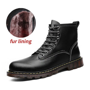 JICHI High Quality Genuine leather Autumn Men Boots Winter Waterproof Ankle Boots Martin Boots Outdoor Working Boots Men Shoes