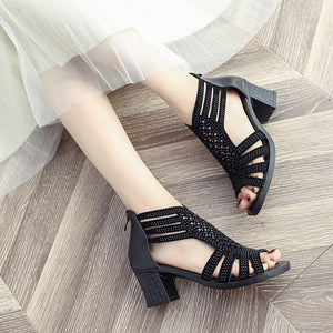 Women Sandals Gladiator High Heels Strap Pumps Zip Female Shoes Fashion Summer Ladies Bling Bling Hollow Out Shoes n691