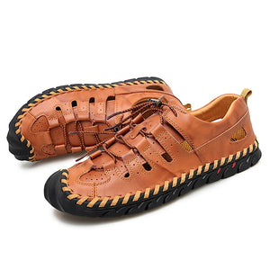 New Summer Men Genuine Leather Sandals Business Casual Shoes Men Outdoor Beach Sandals Roman Summer Men's Water Shoes Size 39-48