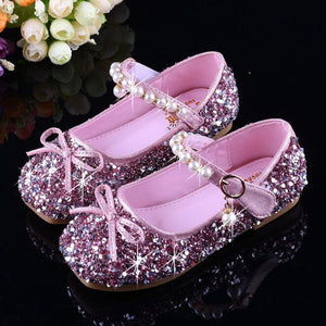 Girls Rhinestone Shoes New Spring Autumn Princess Leather Shoes Girls Bow Children Baby Shoes Low Heel Shining Size 25-36