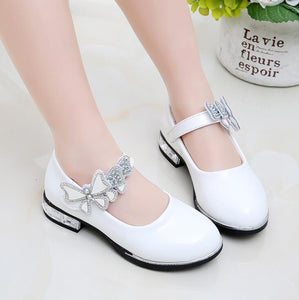 Children Princess Shoes Kids Girls Wedding Leather Shoes High Heels Dress Shoes Bowtie Shoes For Girl White Pink