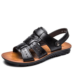 New Arrival Fashion Men Leather Sandals Summer Leather Beach Shoes Male Flats Outdoor Sandals Casual Shoes for men