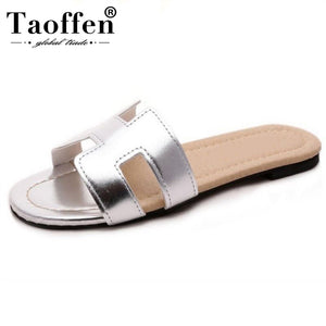 Taoffen Lady Flat Sandals Brand Quality Female Shoes Women Gladiator Sandals Shoes Flip Flops Ladies Footwear Size 35-40 W0142