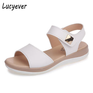 Lucyever  2019 Female Shoes Women Sandals Soft Leather Comfortable Flat Summer Open Toe Sandalias Ladies Leisure Solid Sandals