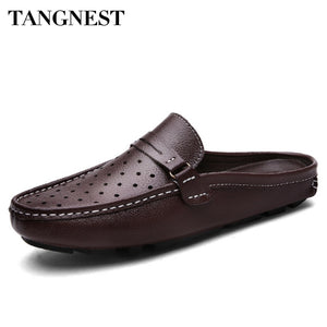 Tangnest Summer Men Genuine Leather Loafers Breathable Lazy Men Casual Shoes Hollow Out Flats Comfort Male Driving Shoes XMR2844