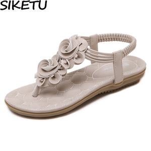 SIKETU Women Comfortable Bohemia Ethnic Sandals Flat Heel Summer Woman Thong Sandals Flip Flop Comfort Shoes Plus Size 35-41