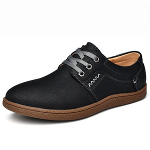 Mens Designer Casual Shoes Big Size 46 Leather Shoes Simple & Stylish Sneakers Brands Male Retro Lace-up Style Rubber Shoes