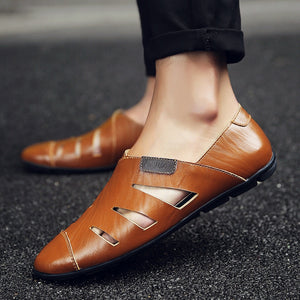 Merkmak Summer Handmade Genuine Leather Men Loafers Casual Brand Men Shoes Fashion Breathable Driving Shoes Plus Size 47