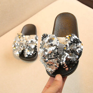 Girls Rhinestone Bow-knot Summer Slipper with soft thick bottom