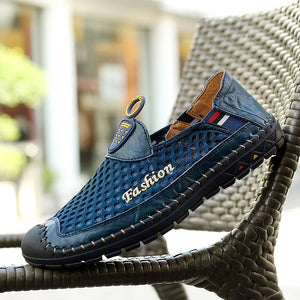 Summer Mens Shoes Plus Size 38-46 Air Mesh New Slip On Mens Designer Shoes Loafer Summer Slip On Fashion Flat Casual Shoes